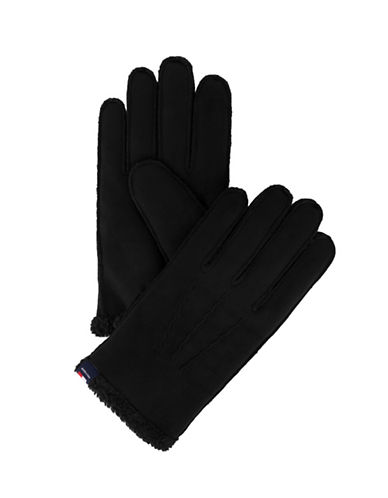 Tommy Hilfiger Faux Shearling Trimmed Gloves-BLACK-Large/X-Large