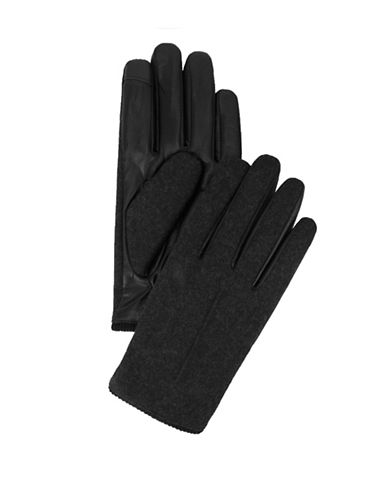 Tommy Hilfiger Knit Inset Gloves-BLACK-Medium