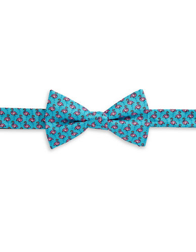 Tommy Hilfiger Flamingo Silk Pre-Tied Bow Tie-BLUE-One Size