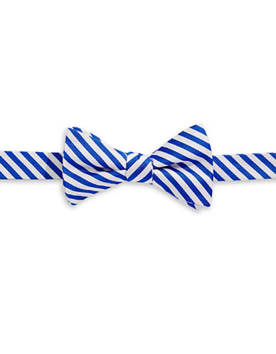 Tommy Hilfiger Striped Silk Pre-Tied Bow Tie-BLUE-One Size