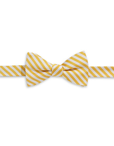 Tommy Hilfiger Striped Silk Pre-Tied Bow Tie-YELLOW-One Size