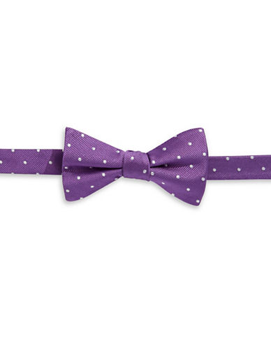 Tommy Hilfiger Dotted Silk Pre-Tied Bow Tie-PURPLE-One Size