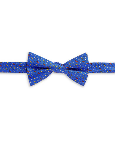 Tommy Hilfiger Fish Print Silk Pre-Tied Bow Tie-BLUE-One Size