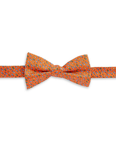 Tommy Hilfiger Fish Print Silk Pre-Tied Bow Tie-ORANGE-One Size