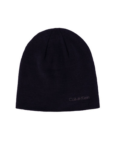 Calvin Klein Basic Reversible Beanie-NAVY-One Size