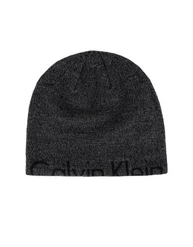 Calvin Klein Marled Half Logo Beanie-BLACK-One Size