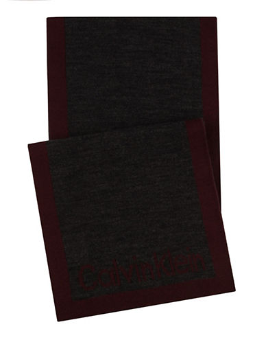 Calvin Klein Logo Border Scarf-RED-One Size