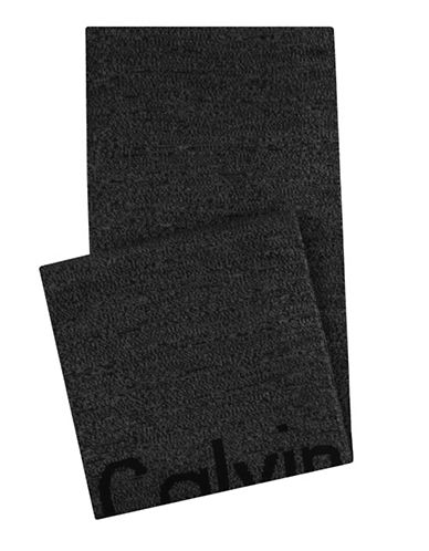 Calvin Klein Cut-off Logo Scarf-BLACK-One Size