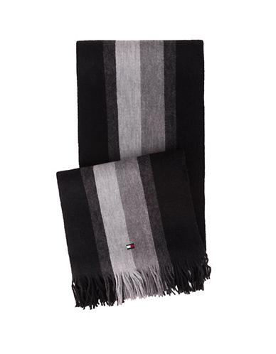Tommy Hilfiger Frayed Stripe Scarf-BLACK-One Size