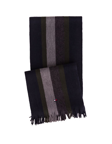 Tommy Hilfiger Frayed Stripe Scarf-GREY-One Size