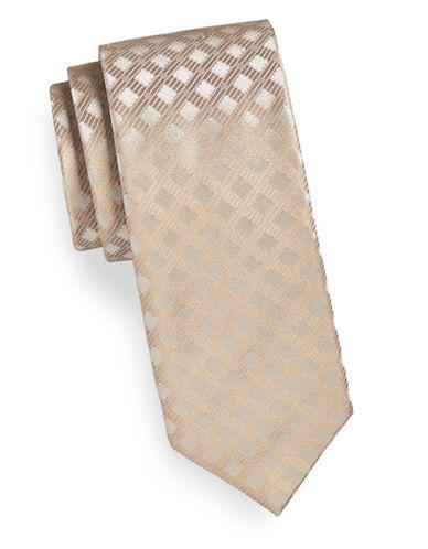 Calvin Klein Tonal Neat Silk Tie-TAUPE-One Size