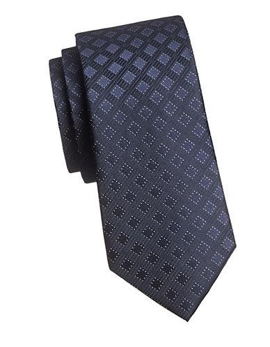 Calvin Klein Tonal Neat Silk Tie-NAVY-One Size