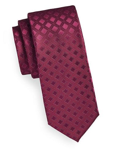Calvin Klein Tonal Neat Silk Tie-GARNET-One Size