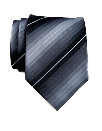 Kenneth Cole Reaction Tonal Stripe Tie-BLACK-One Size