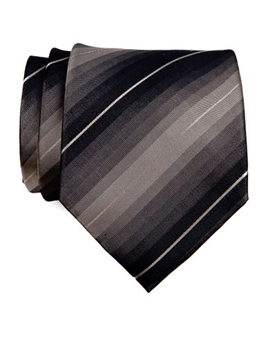 Kenneth Cole Reaction Tonal Stripe Tie-BROWN-One Size