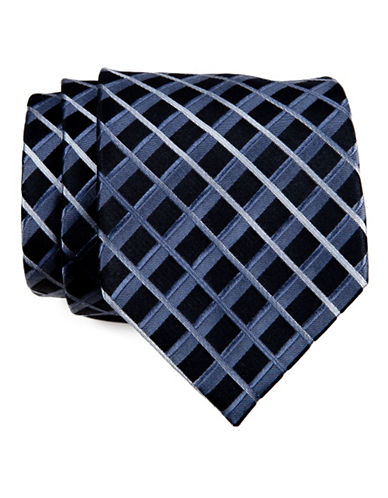 Kenneth Cole Reaction Striped Grid Tie-BLACK-One Size