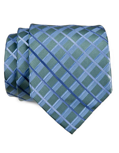Kenneth Cole Reaction Striped Grid Tie-SAGE-One Size