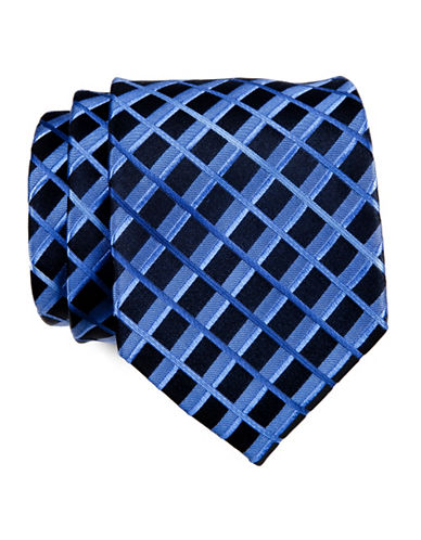 Kenneth Cole Reaction Striped Grid Tie-NAVY-One Size