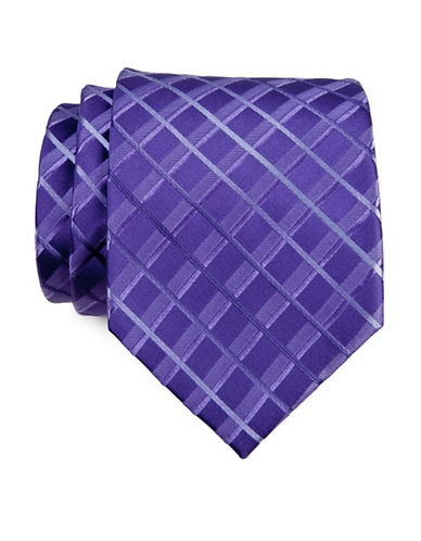 Kenneth Cole Reaction Striped Grid Tie-PURPLE-One Size