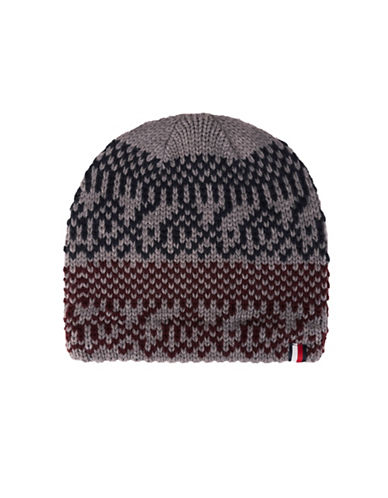 Tommy Hilfiger Fair Isle Knit Beanie-RED-One Size