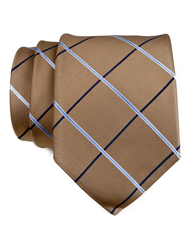 Tommy Hilfiger Broad Grid Silk Tie-TAUPE-One Size