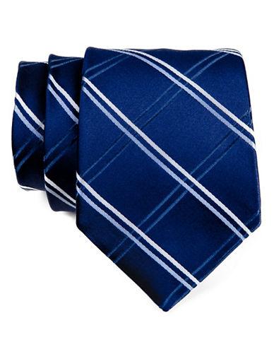 Tommy Hilfiger Broad Grid Silk Tie-NAVY-One Size