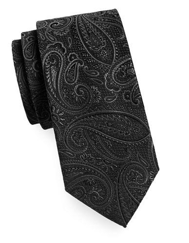 Geoffrey Beene Silk-Blend Paisley Tie-BLACK-One Size