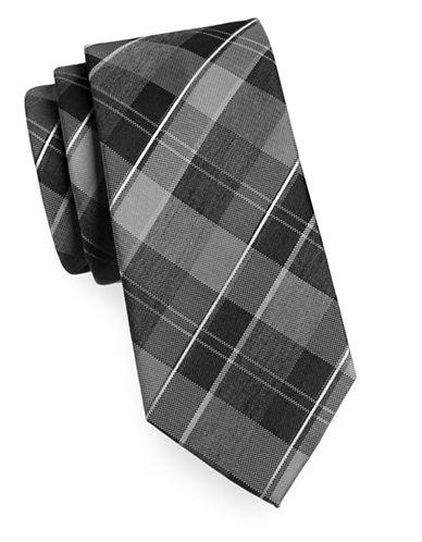 Geoffrey Beene Silk-Blend Plaid Tie-BLACK-One Size