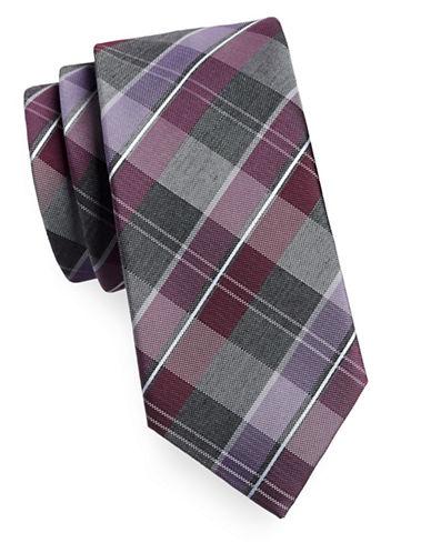 Geoffrey Beene Silk-Blend Plaid Tie-RED-One Size