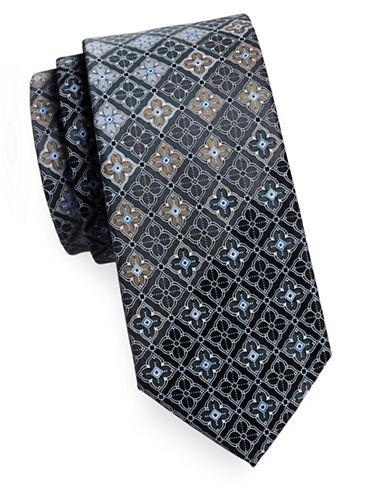 Geoffrey Beene Silk Medallion Tie-BLACK-One Size