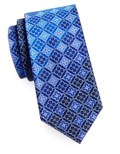 Geoffrey Beene Silk Medallion Tie-NAVY-One Size