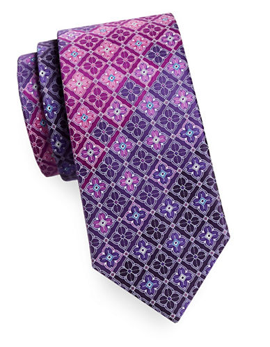 Geoffrey Beene Silk Medallion Tie-PURPLE-One Size