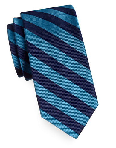Tommy Hilfiger Silk Diagonal Stripe Tie-TEAL-One Size