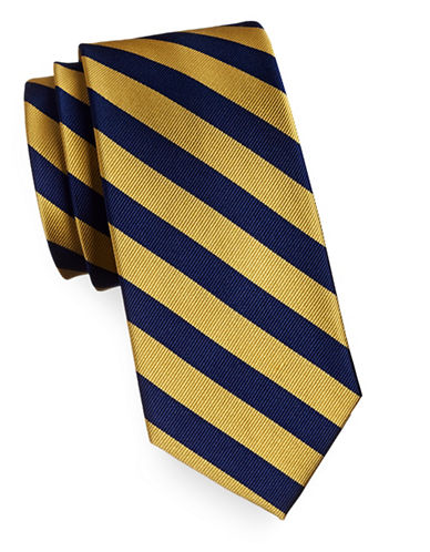 Tommy Hilfiger Silk Diagonal Stripe Tie-YELLOW-One Size