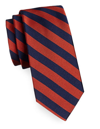 Tommy Hilfiger Silk Diagonal Stripe Tie-ORANGE-One Size