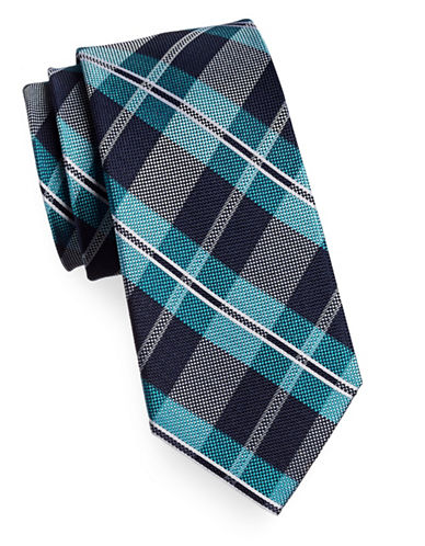 Tommy Hilfiger Silk Plaid Tie-TEAL-One Size