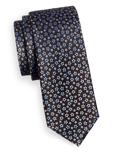 Tommy Hilfiger Floral Silk Tie-BROWN-One Size
