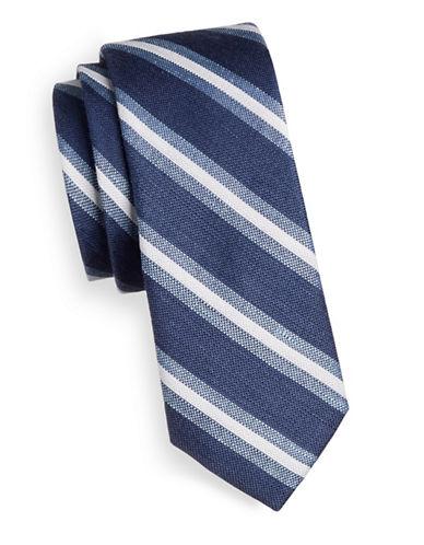 Tommy Hilfiger Stripe Silk-Linen Tie-BLUE-One Size