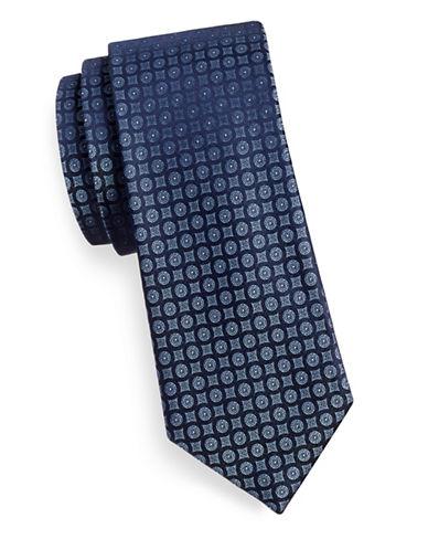 Calvin Klein Silk Medallion Tie-NAVY-One Size