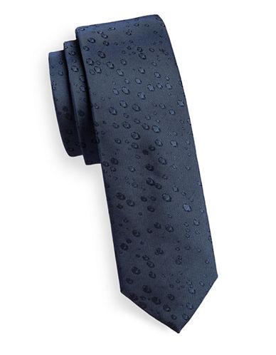 Calvin Klein Silk Neat Print Tie-BLUE-One Size