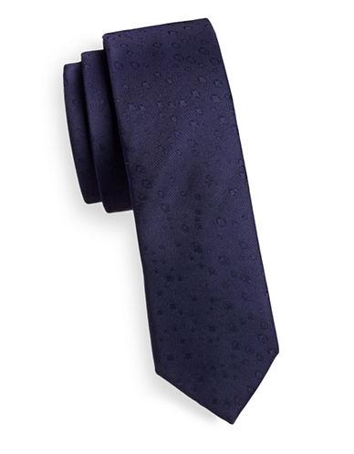 Calvin Klein Silk Neat Print Tie-PURPLE-One Size