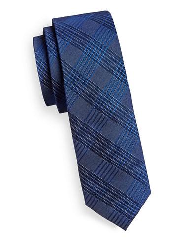 Calvin Klein Silk-Blend Grid Tie-NAVY-One Size
