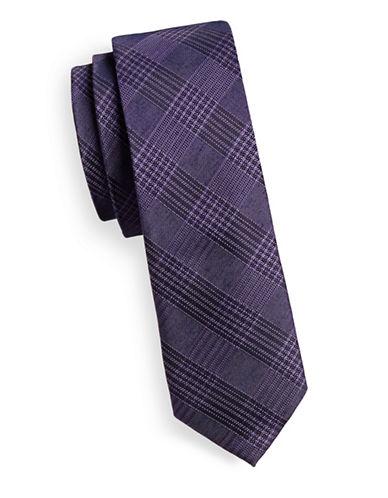 Calvin Klein Silk-Blend Grid Tie-PURPLE-One Size
