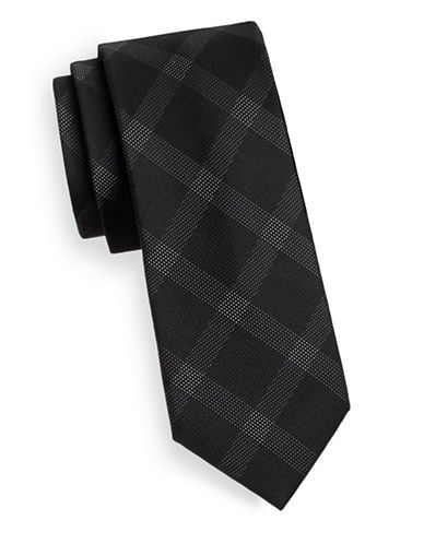 Kenneth Cole Reaction Silk Grid Print Tie-BLACK-One Size
