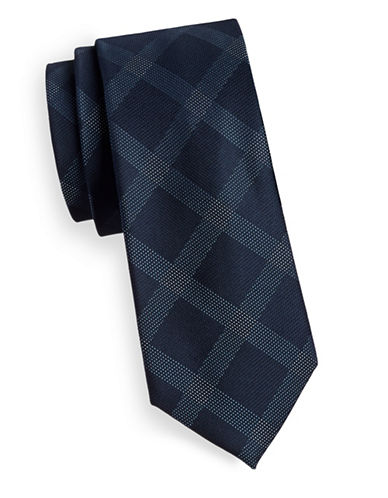 Kenneth Cole Reaction Silk Grid Print Tie-NAVY-One Size
