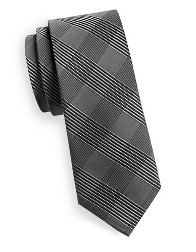Kenneth Cole Reaction Silk Tonal Print Tie-BLACK-One Size