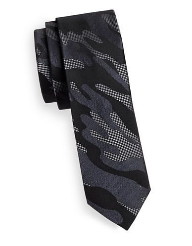 Kenneth Cole Reaction Silk Slim Camo Tie-BLACK-One Size