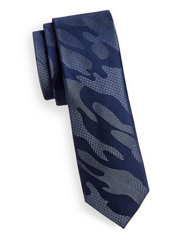 Kenneth Cole Reaction Silk Slim Camo Tie-NAVY-One Size