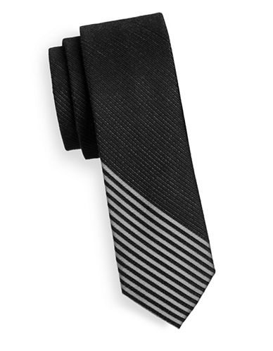 Kenneth Cole Reaction Silk-Blend Striped Bottom Tie-BLACK-One Size