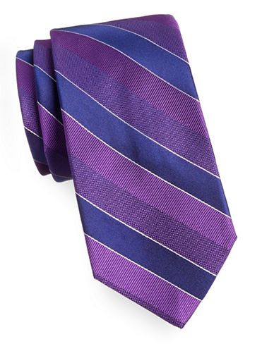 Arrow Silk Diagonal Stripe Tie-PURPLE-One Size